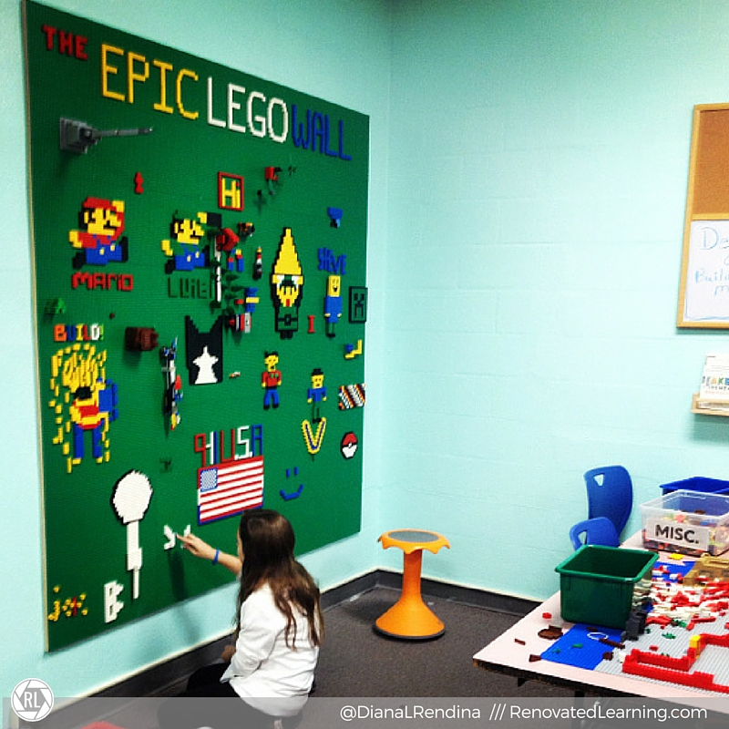Our Epic LEGO Wall, several weeks after building it. | RenovatedLearning.com