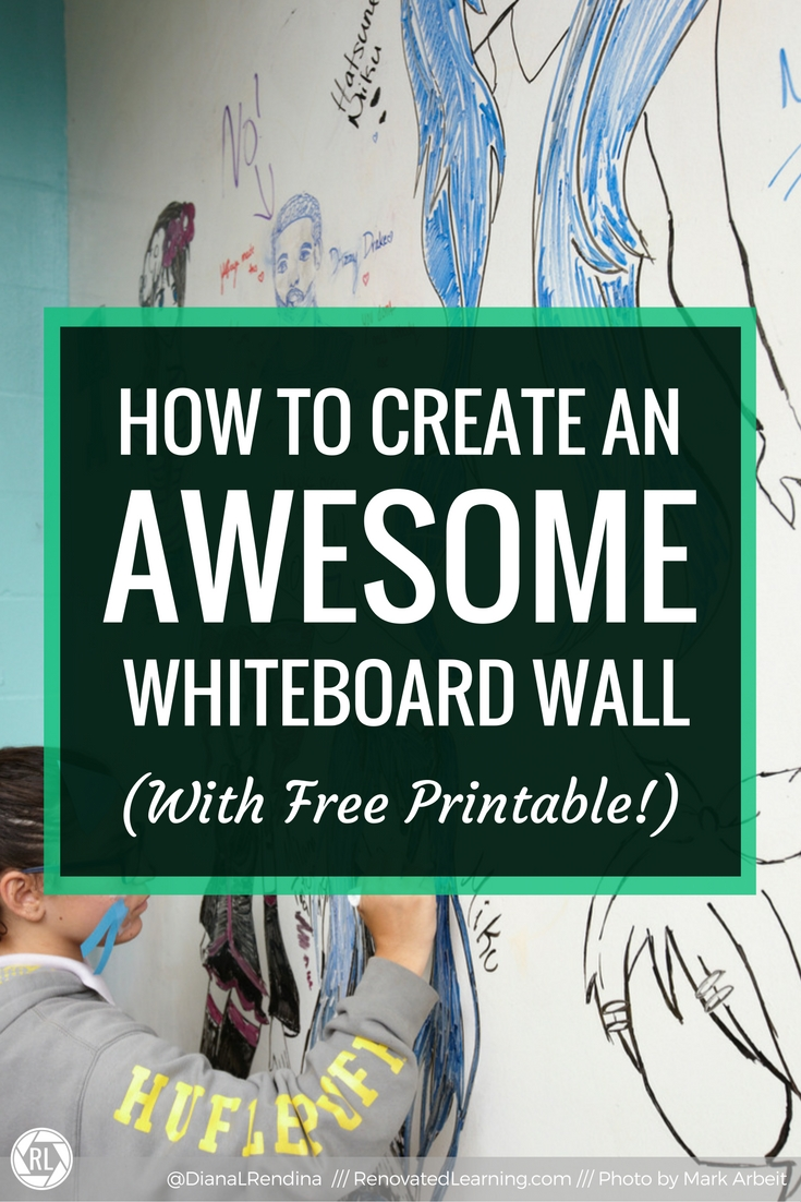 How to Create An Awesome Whiteboard Wall | In 2014, we painted one wall of our library makerspace with whiteboard paint, transforming it into an interactive surface. Learn how you can create your own whiteboard wall in this post.