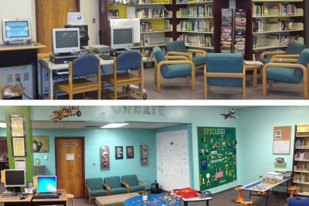 6 Ways to Rethink Your Library Space and Make It Amazing The Maker Corner   2010 vs 2015