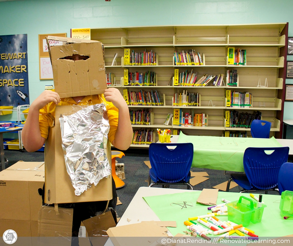 Robot suit made out of cardboard during Maker Club.| RenovatedLearning.com