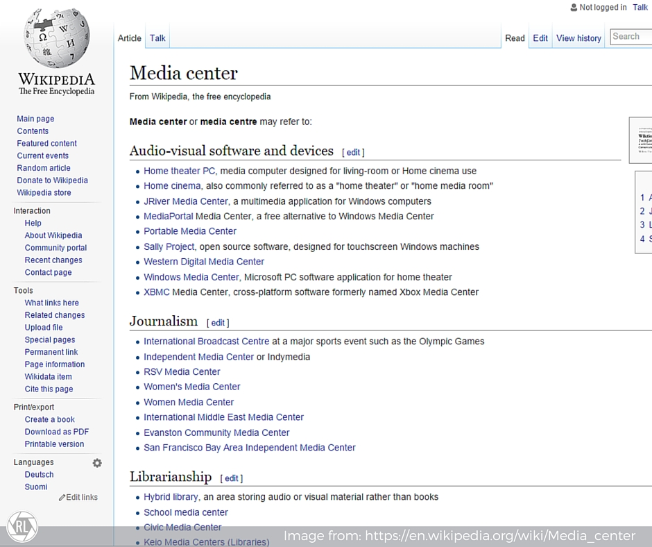 """Wikipedia's Disambiguation of """"Media Center""""   RenovatedLearning.com"""