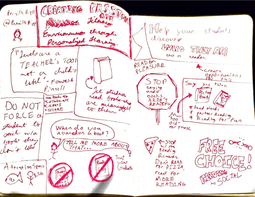 My sketchnotes on Pernille Ripp's session on Creating Passionate Literacy Environments through Personalized Learning