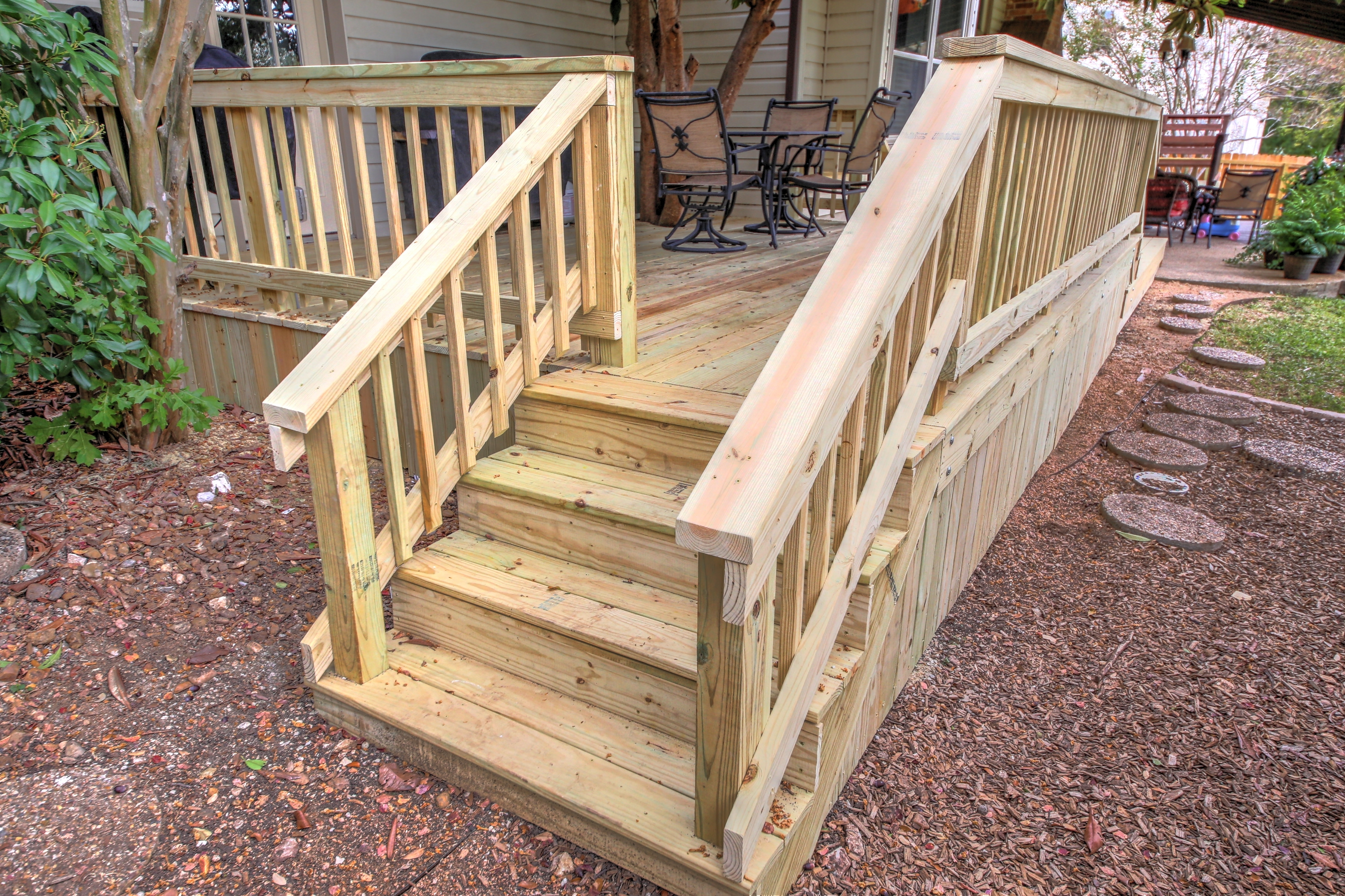 Deck Stairs And Railing – Renovate Paint Design   Building Deck Stair Railings   Outdoor Stair   Balusters   Porch Railing   Porch   Stair Treads