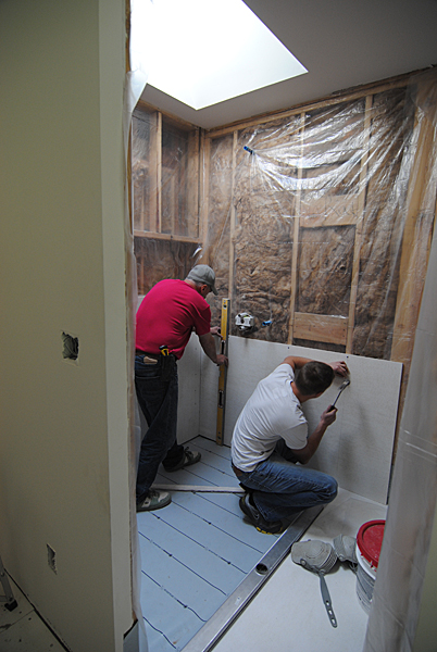 shower pans sand beds walls