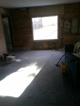The living room, gutting all outside walls to make room for new insulation.