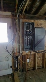 Here's my new panel and sub panel and those are all of the wires I've already run...