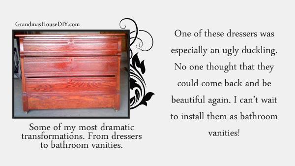 Three dresser refinished and changed into three bathroom vanities. Grandmashousediy.com