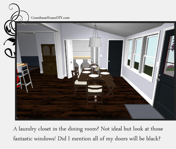 Remodeling an old farm house - creating a dining room and laundry. 3d image. GrandmasHousediy.com