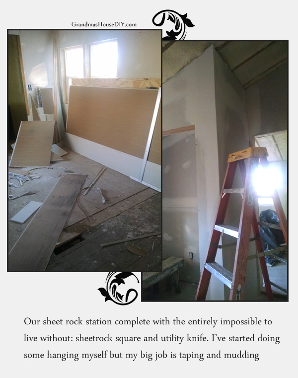 Taping and mudding during the renovation of a 100 year old farm house.