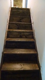 Here's our new pine stair case stained with dark walnut by minwax and finished with poly.