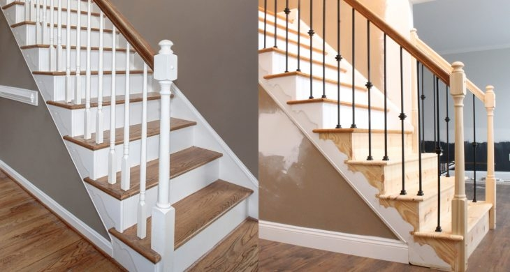 Changing Wood Stair Balusters To Iron 8 Steps With Video A | Wood Handrail With Iron Balusters | Stairway | Wooden | Copper | Cast Iron | Landing