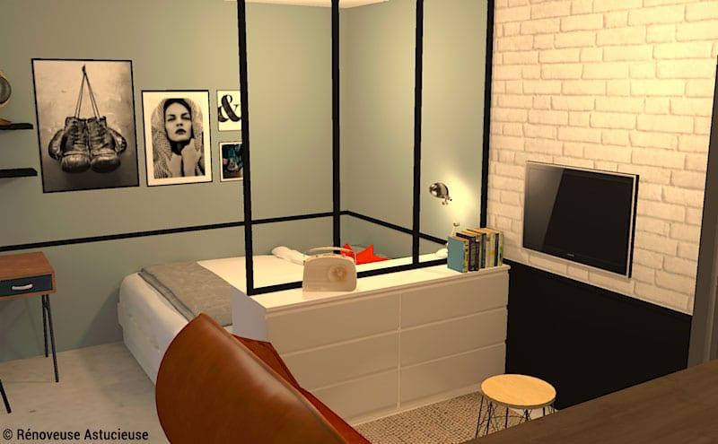 Quand le studio es trop petit pour un espace nuit séparé, un meuble de rangement bas permet de séparer sans réduire l'espace visuellement