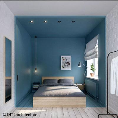 Petites chambres de style par INT2architecture. Plafond abaissé pour délimiter l'espace.