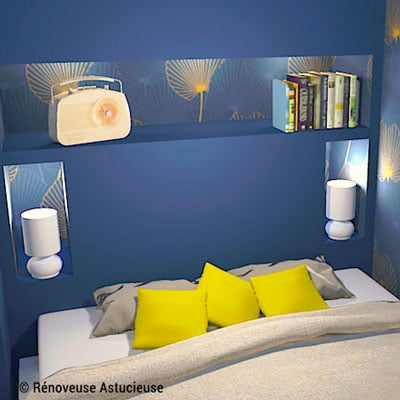 Pour remplacer les tables de chevet, crée une tête de lit avec niches intégrées