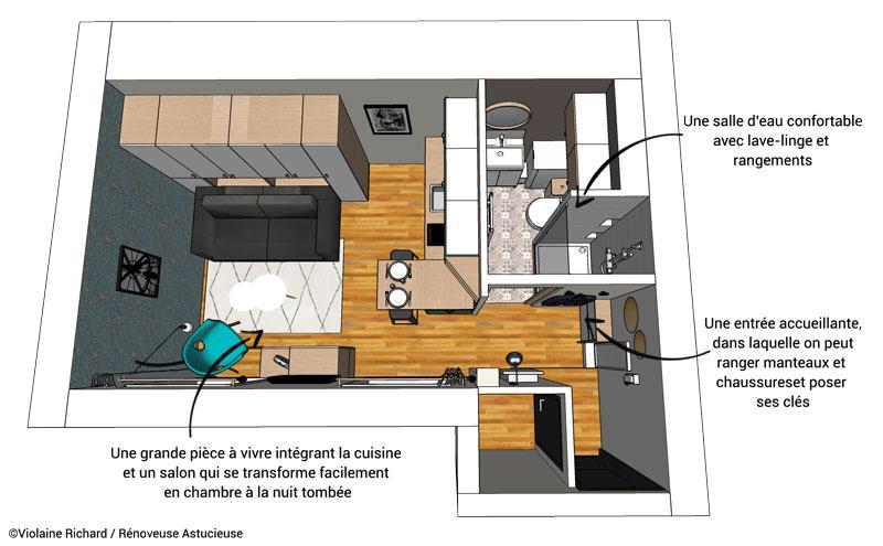 Le studio de 18 m2, totalement repensé par une architecte d'intérieur spécialiste de l'investissement immobilier