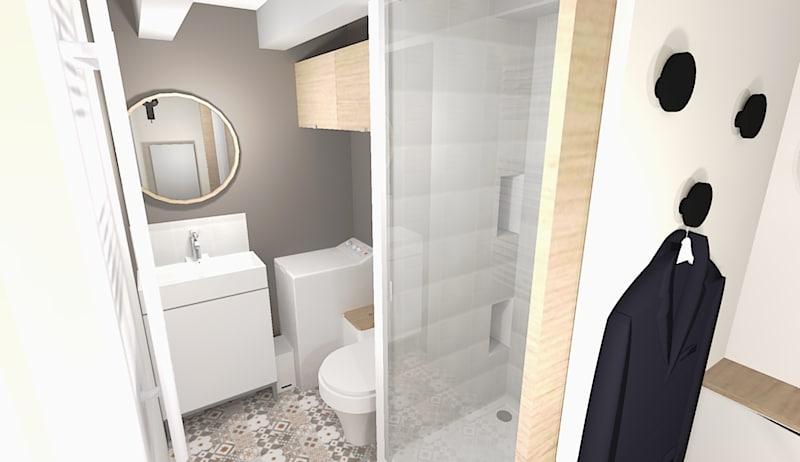 Dans la douche, on aménage une niche pour poser les produits de soins.
