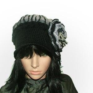black & white crochet felt hat
