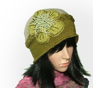 olive green crochet felt hat