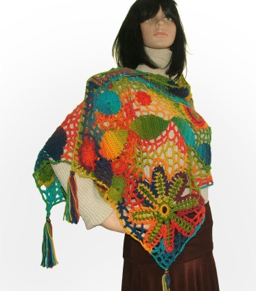 Rainbow freeform shawl floral