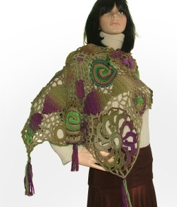 freeform shawl purple olive green 2