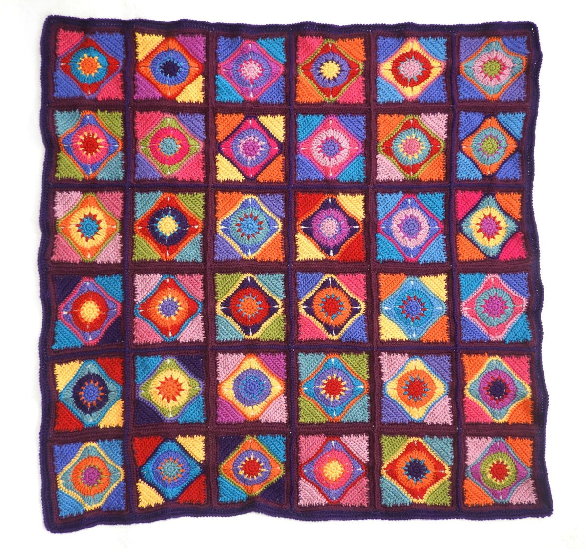 Stained Glass Diamond Motif Afghan Rug Crochet Pattern