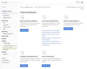 02_Cloud Storage-ProjectDashBoardを選択