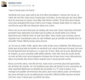 Antoine Leiris, Terror, Paris