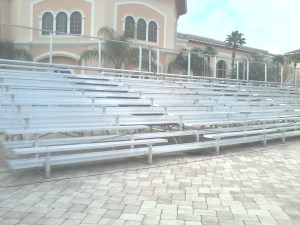 10-row rental bleachers with center aisle