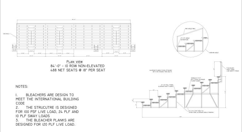 Engineer Drawings of Portable Bleacher Rental Seating Installation