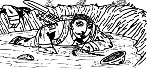 A dazed infantryman finds himself thrown into a water-filled crater