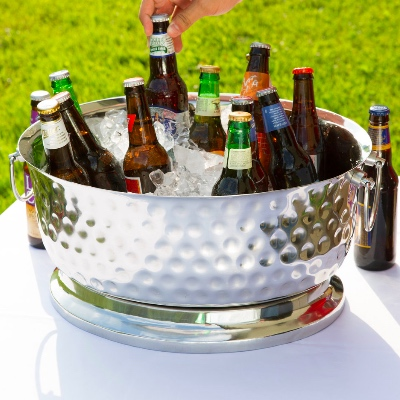 Steel champagne ice tub for rent