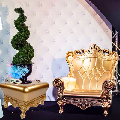 Gold baby shower chair rental