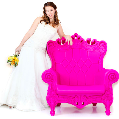 Pink chair rental for photo shoot