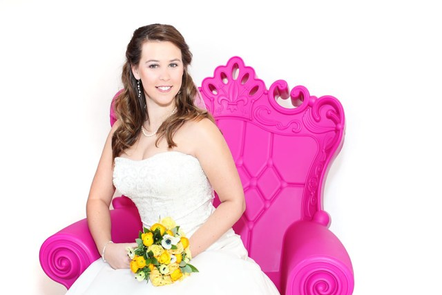 Bridal photo shoot with pink chair