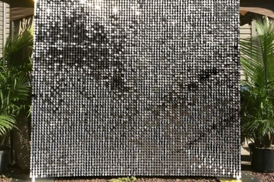 silver sequin backdrop rental