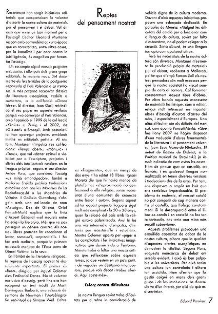 """""""Reptes del pensament nostrat"""" (Caràcteres, 46)"""