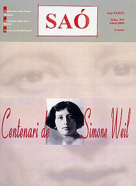 Portada de la revista Saó (núm. 337) que incorpora l'especial sobre Simone Weil