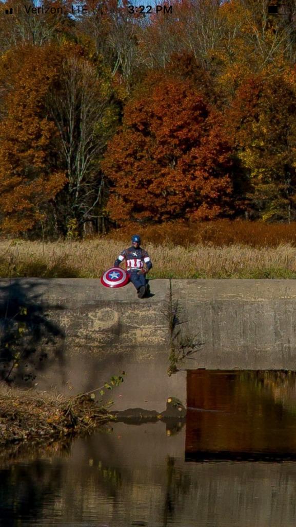 Captain America sitting down