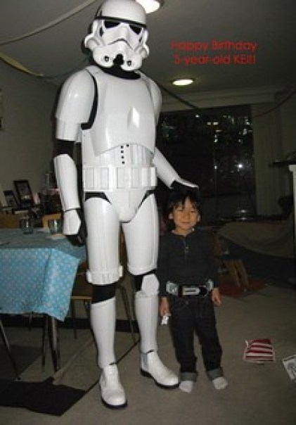 Storm Trooper fight bad guys at birthday