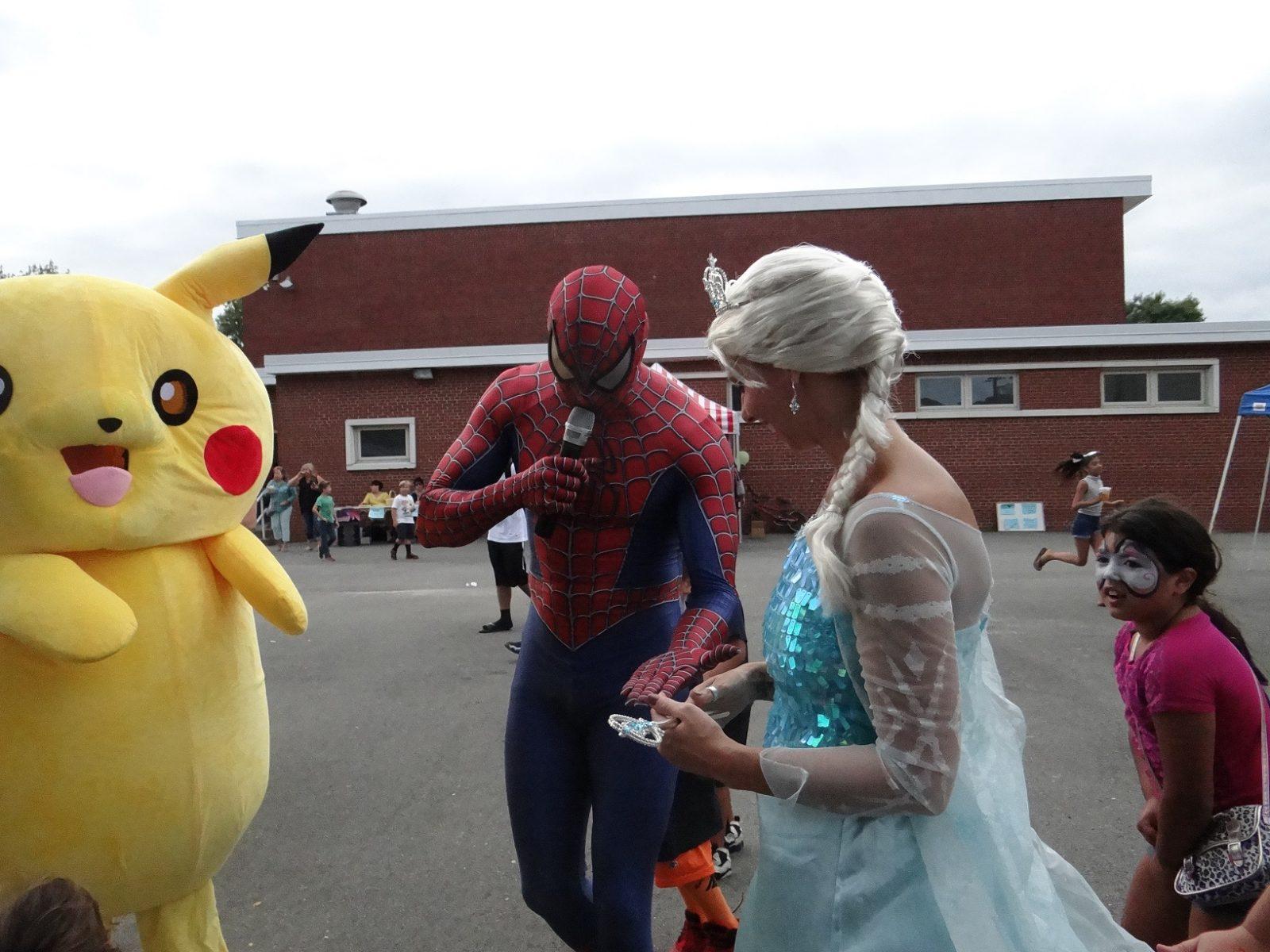 Pikachu,Frozen Princess Elsa,Spiderman