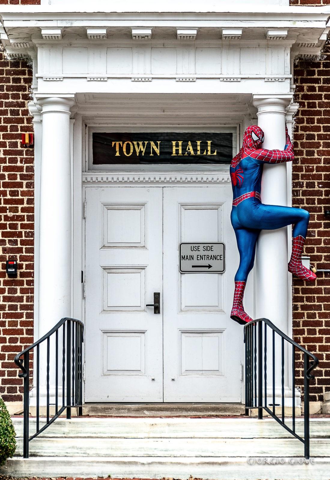 Spider Man climbing Town Hall