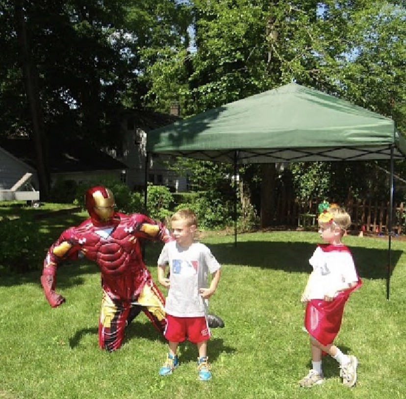 Iron Man in action at birthday party
