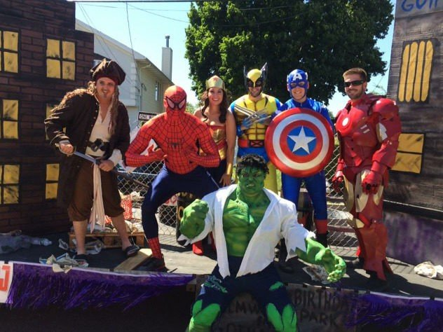 Spider man, Captain Jack Sparrow, Wonder Woman,Wolverine,Captain America,Iron Man and Hulk