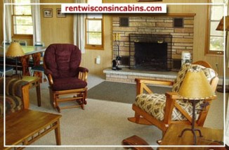 Wisconsin, stone, fireplace, winter. cabin
