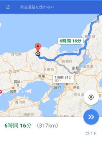 金沢鳥取間の地図