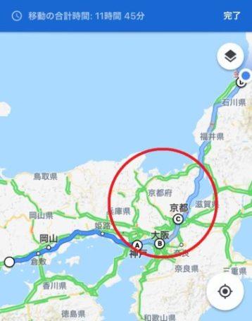 福山市から金沢市への市街地経由ルート