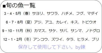 石川旬の魚一覧表