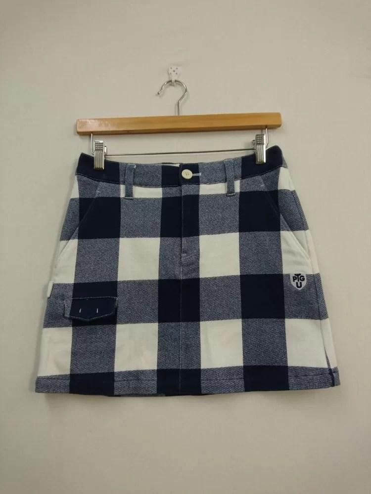 パーリーゲイツ スカート ネイビー×白 ブロックチェック柄