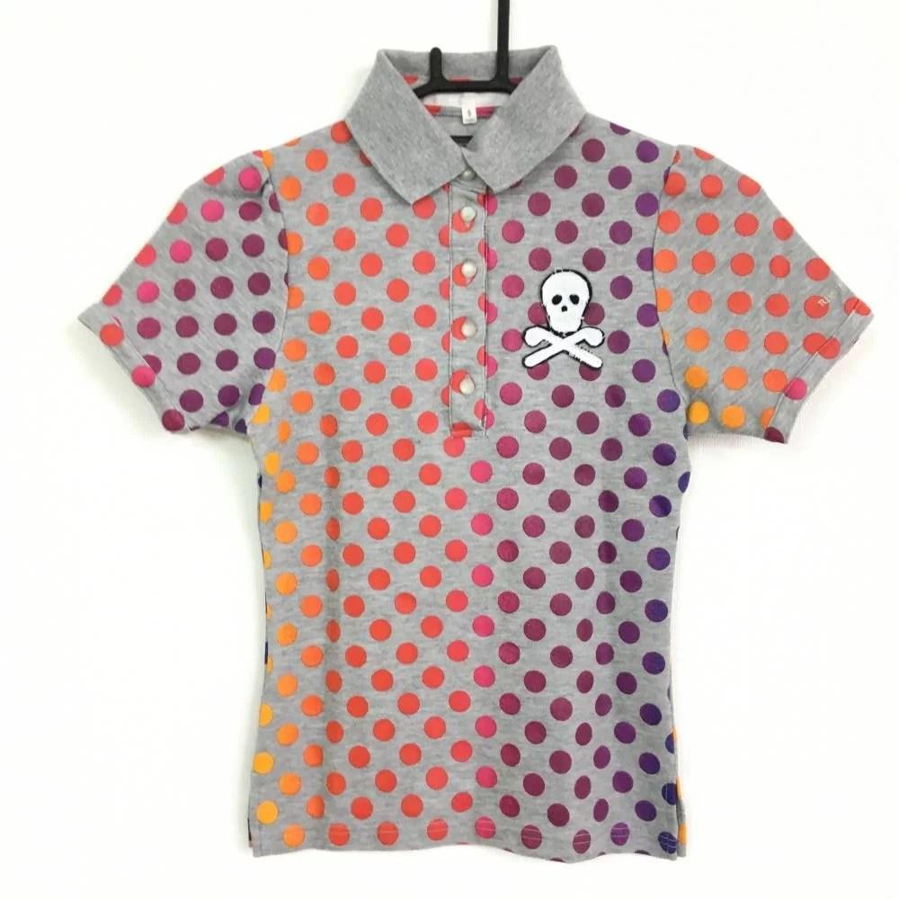 マークアンドロナ 半袖ポロシャツ 杢グレー ドット柄