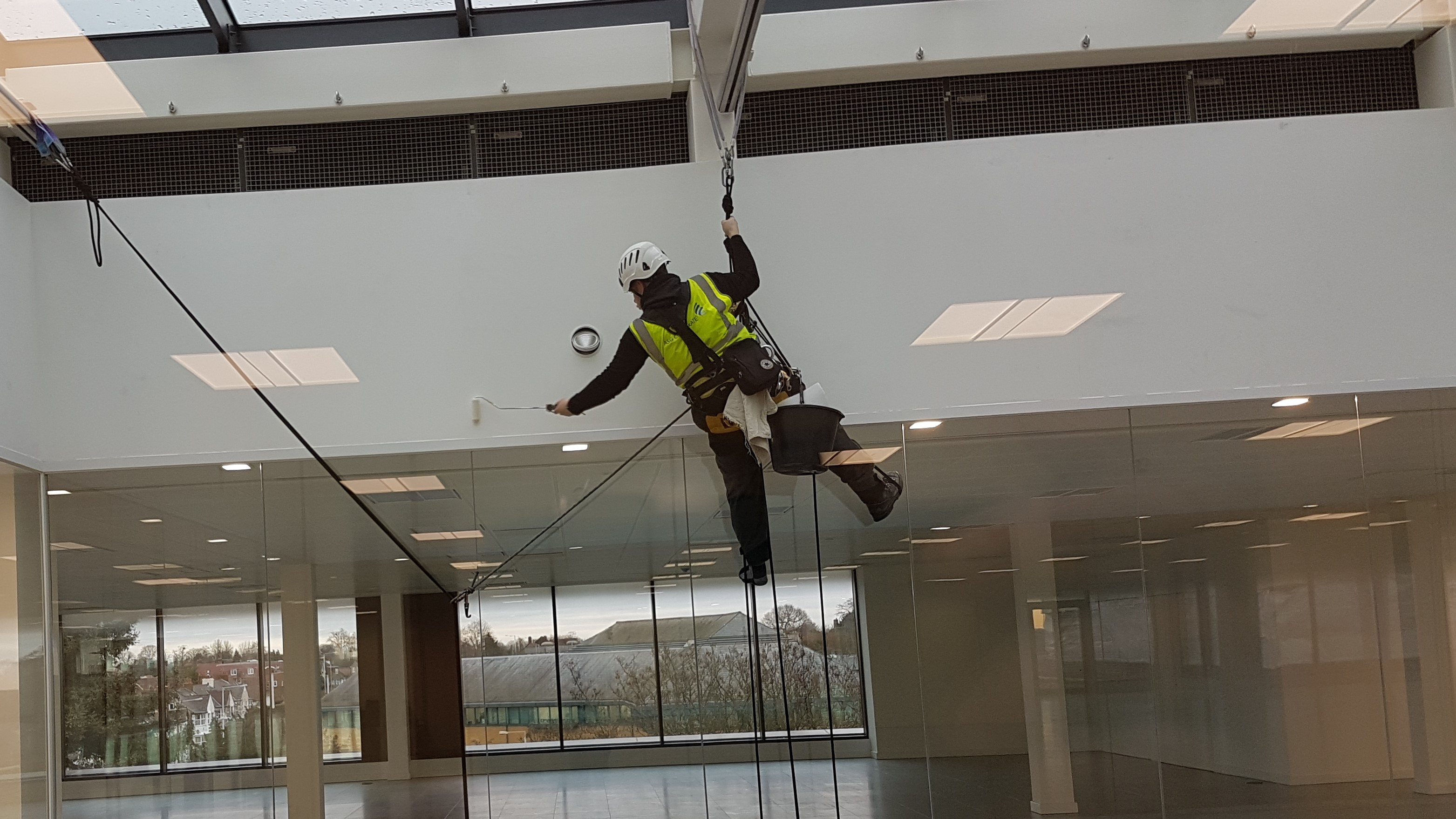 abseiling interior painting